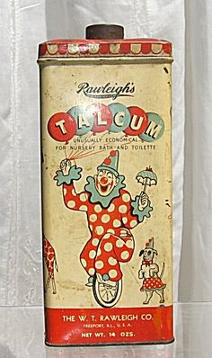 Art Deco Rawleighs Circus Big Top Talcum Powder Tin. Click on the image for more information.