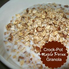 A quick homemade granola with a hint of maple syrup. Serve with milk or eat dry as a snack. All cooked in the crock-pot.