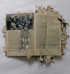 Fluchtversuch / attempt to escape. altered book from the GDR. Ines Seidel
