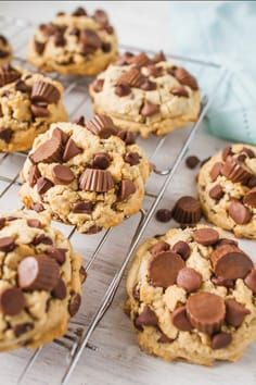 chocolate chip cookies Peanut Butter Chocolate Chip Cookie recipe is a great dessert to make and serve to your family and friends. Made with a peanut butter dough and mini peanut butter cups and chocolate chips. Chip Cookie Recipe, Cookie Recipes, Dessert Recipes, Chocolate Chunk Cookies, Chocolate Peanut Butter, Chocolate Chips, Peanut Butter Cup Cookies, Cookie Butter, Brownie Cookies