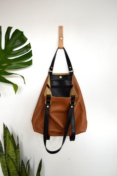 Leather Tote Bag Long Handles Satchel Handles Red by ARTandJILL ...