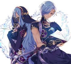 Azura and Shigure Fire Emblem Awakening, Fire Emblem Characters, Fantasy Characters, Fire Emblem Azura, Character Art, Character Design, Pokemon, Fire Emblem Games, Blue Lion