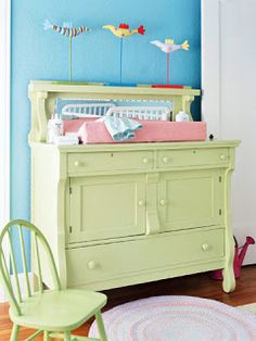 vintage sideboard used as a changing table. Love this idea