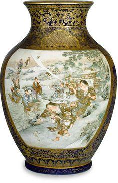 A Satsuma vase By the Kinkozan studio, Meiji period (late century) Japanese Vase, Japanese Porcelain, Japanese Ceramics, Japanese Pottery, Porcelain Ceramics, China Porcelain, Porcelain Jewelry, Satsuma Vase, Deco Paint