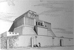 Reconstrucción hipotética del Templo Elevado de Eridú. El templo se convierte en una pequeña fortaleza elevada sobre una plataforma a la que se accedía mediante una escalinata dispuesta en uno de sus lados.