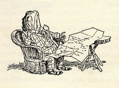 They found him sitting in a wicker chair with a map on his lap...bored with boating, he has a new love!...The Wind in the Willows 008 | Flickr - Photo Sharing!
