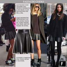 Las faldas de cuero. Disponible en www.tiendafucsia.co