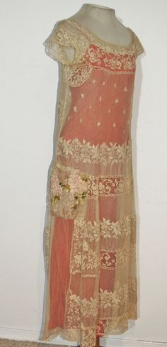 Beautiful 1920-30's Lace / Embroidered Flapper Dress w Pink Ribbon Flowers SM…