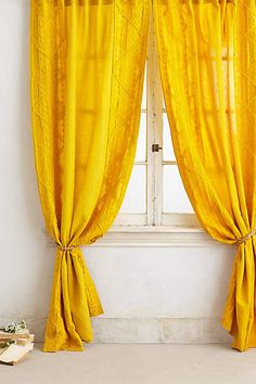 Appliqued Lace Curtain - anthropologie.com