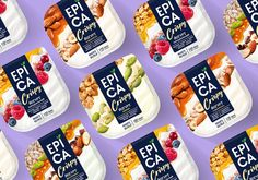 Epica Crispy on Packaging of the World - Creative Package Design Gallery Yogurt Packaging, Cake Packaging, Food Packaging Design, Packaging Design Inspiration, Caramel Crunch, Natural Yogurt, Snack Recipes, Snacks, Lemon Yogurt