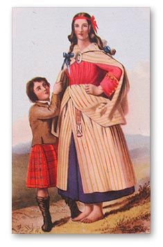 "The Arisaid (AIR-uh-sedge) is the the ladies' traditional Highland Dress. At right is R. R. McIan's 1845 illustration from ""Costumes of the Clans."" The garment is described as ""made of sufficient length to reach from the neck to the ankles & being nicely plaited all round, fastened at the waist with a belt & secured on the breast by a large brooch."" $215"