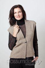 Women's Padded Trim Vest Possum Fur Merino Wool