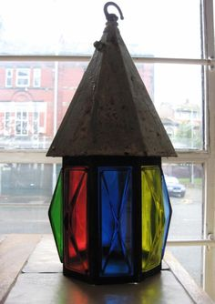 Arts & Craft rainbow coloured stained glass light!