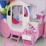 Princess Carriage Beds With Prinscess Design The Theme Of Pink And White Color