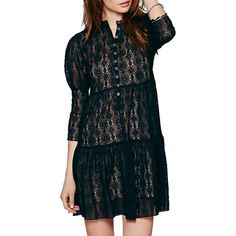 $22.60 Fashionable Round Neck See-Through Floral Pattern 3/4 Sleeve Dress For Women