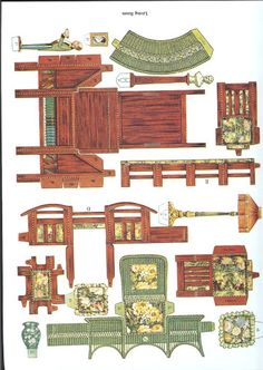 Cut and Assemble Paper Dollhouse Furniture by American Colortype Co. - Dover Publications, Inc., 1981: Page 3 (of 16) Pages 1, 6, 7, 8, 9, 10, 11 and 16 are actually rugs with 1/2 of a rug on each page for a total of 4