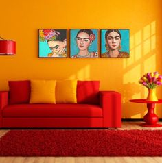 Frida Kahlo Set of Three 20x20 Premium Canvas by FridaKahloArt