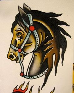 Traditional Brown Horse Tattoo Design