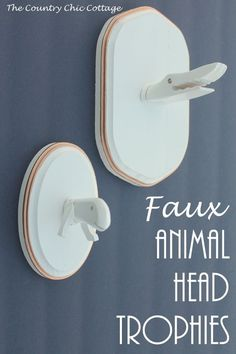 Faux Animal Head Trophies -- a craft tutorial on making your own whimsical animal heads from wood toys. Woodworking Guide, Custom Woodworking, Woodworking Projects Plans, Woodworking Books, Quick And Easy Crafts, Barn Wood Crafts, Country Chic Cottage, Kids Wood, Animal Heads