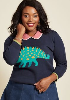 <p>Well now, aren't you looking and feeling your most darling in this navy blue pullover from our ModCloth namesake label? It's hard not to be jazzed while clad in the pear-hued trimmings, cropped sleeves, and green intarsia dinosaur of this quirky sweater - design this sweet is an uplifting influence!</p>