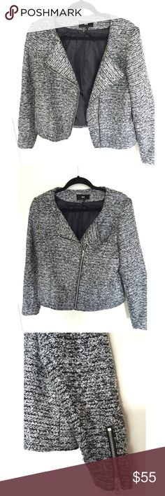 NWOT H&M Tweed-Like Biker Jacket Super chic jacket with silver zipper details. Can be worn dressed up or dressed down. Size 6. H&M Jackets & Coats Blazers