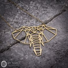 Elephant necklace, animal necklace, geometric necklace, gold necklace,... ($48) ❤ liked on Polyvore featuring jewelry, necklaces, gold elephant necklace, geometric necklace, gold jewelry, gold filled jewellery and animal jewelry