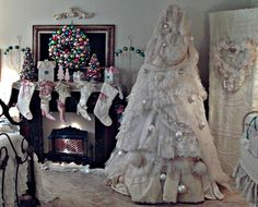 Shabby white Christmas tree.    Penny's Vintage Home: Christmas in Our Bedroom