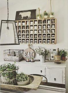 Love the wooden cubby backsplash! Perfect shabby kitchen!