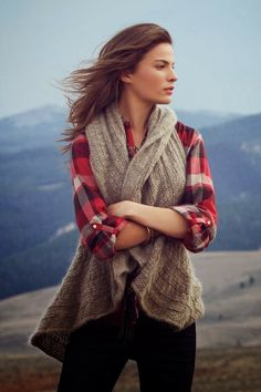 Cozy Brown Sweater Vest With Plaid