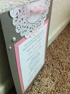 Playing with Paper: CTMH Scrapbooks, Cards & DIY: Pearls & Lace Baby Shower Invitations