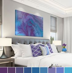 Purple and blue abstract canvas, Large wall art for bedroom or bathroom wall decor, Turquoise plum grey print - Workoffice Abstract Canvas Art, Blue Abstract, Canvas Wall Art, Abstract Paintings, Blue Canvas, Portrait Paintings, Abstract Portrait, Painting Canvas, Diy Canvas
