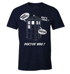 Licence Officielle Doctor Who. T-shirt Doctor Who - Knock Knock Doctor Who ? Sous licence officielle Dr Who Dr Who, Mode Geek, Doctor Who T Shirts, Navy Blue T Shirt, Division, Knock Knock, Boutique, Officiel, Mens Tops