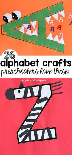 Alphabet craft for preschool children,Are you working on teaching your preschooler the ABC? These alphabet crafts are perfect for young learners. You can focus on one new letter of the wee. Preschool Learning Activities, Preschool Curriculum, Preschool Lessons, Preschool Classroom, Preschool Activities, Kids Learning, Homeschooling, Kids Educational Crafts, Family Activities