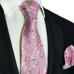 Sweet Lilac Paisley Silk Tie and Pocket Square