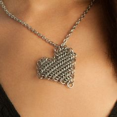Chainmaille heart pendant
