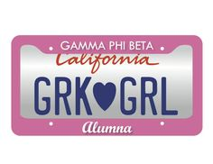 Gamma Phi Beta Alumna License Plate Frame and purple for K-state. Got it for christmas!