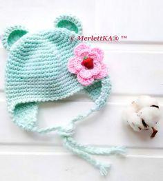 Мобильный LiveInternet Вязание крючком ❤ Шапочка для малышки ⊱Ми Мишка⊰ | MerlettKA - © MerlettKA® ™ |