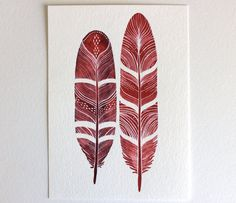 Feather Art Painting - Watercolor - Black Friday Cyber Monday - Large Archival Print - 11x14 Love Feathers