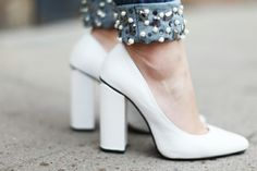 Beading and white heels ! Details In Streetstyle.