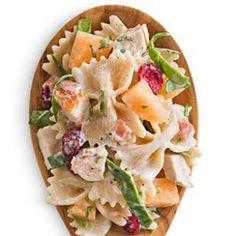 Melon, prosciutto and dried cranberries pair well together in this chicken pasta salad recipe. It's certainly strange on paper, but great tasting.