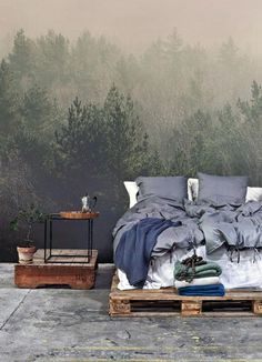 Wallpaper Nature Forest Bachelor Pad Male Bedroom Ideas