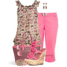 Pink Butterfly Top & Chino Capris, created by jaimie-a on Polyvore