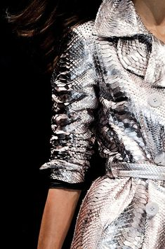 Blumarine at Milan Fashion Week Fall silver snake skin coat Metal Fashion, High Fashion, Womens Fashion, Fall Fashion, Glamorous Chic Life, Ex Machina, Glamour, So Little Time, Fashion Details