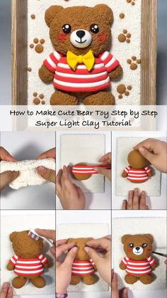 How to Make Cute Bear Toy Step by Step – Super Light Clay Tutorial - For most newcomers who just started playing clay, they don't know how to start with the clay, so - Cute Polymer Clay, Cute Clay, Polymer Clay Projects, Diy Clay, Polymer Clay People, Clay Crafts For Kids, Crea Fimo, Creative Food Art, Clay Figures