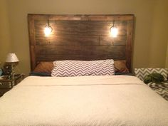 Barnwood headboard with dimming lights and two USB outlets and one ...