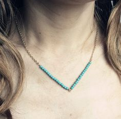 0.65€ - Chain link V turquoise beads necklace women - Just do my best