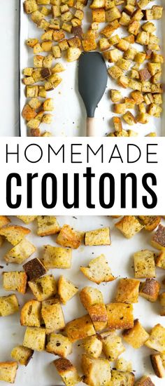 Homemade Crouton Recipe (How to Make Croutons) #croutons #homemadecroutons #bread #easyrecipe Easy Crepe Recipe, Crepe Recipes, How To Make Croutons, Recipes With Cool Whip, Crouton Recipes, Pizza Pasta Salads, Shrimp Salad Recipes, Appetizer Recipes, Appetizers