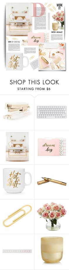 """""""Desk Goals"""" by cara-mia-mon-cher ❤ liked on Polyvore featuring interior, interiors, interior design, home, home decor, interior decorating, Kate Spade, Sugar Paper, Threshold and Cartier"""