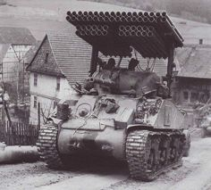 M4 Sherman tank with Calliope rocket system.