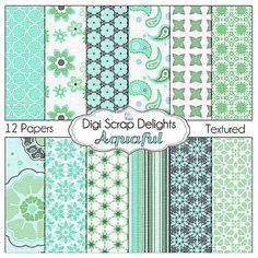 Aqua  Digital Scrapbook Paper for Digital by DigiScrapDelights